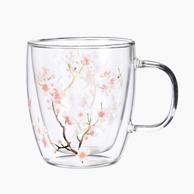 考拉工厂店 桃花 双层玻璃杯350ml
