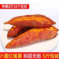 新鲜现挖 无筋无丝:风波庄 沙地六鳌红心蜜薯 5斤