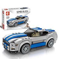 兼容乐高,195颗粒,森宝 积木赛车模型 607018 蓝色跑车