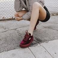 黑色,Puma 彪马 Cali Velvet 女子丝绒板鞋