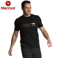 历史新低!19年专柜款:Marmot 土拨鼠 男士烫金LogoT恤
