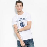 专柜同款,龙狮戴尔 男士 纯棉 印花T恤