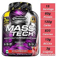 健身必备,Muscletech 肌肉科技 增肌粉 草莓味 3.18kg