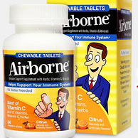 临期特价!强化免疫力:64粒x2件 美国 Schiff/旭福 Airborne 桔子味复合维C咀嚼片