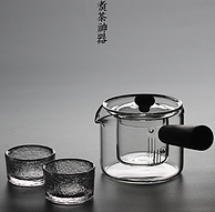 可茶湯分離,愛洛琳 耐高溫日式玻璃煮茶壺+2個錘紋杯