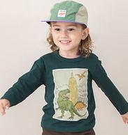 日本超高人气童装品牌,petit main 2019秋季新款 男童日系时尚纯棉长袖T恤 3色