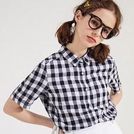 關曉彤同款、100%純棉:Metersbonwe/美特斯邦威 女士短袖格子襯衫
