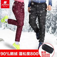 比雙11低10元 專柜款 800蓬+90%鵝絨+防潑水:君羽 男女加厚羽絨褲