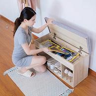 坐凳收纳多功能:MSFE/蔓斯菲尔 家用布艺换鞋收纳柜80cm