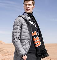 90%白鸭绒:骆驼 男士中长款轻薄羽绒服