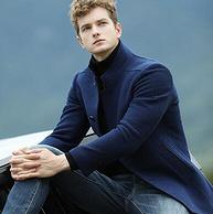 48.7%羊毛:雪中飛 深藍色 男士中長款大衣