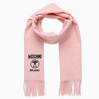 Moschino/莫斯奇诺 logo刺绣羊毛围巾 180x37cm