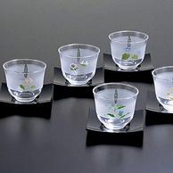 東洋佐佐木 江戶友禪 冷茶套裝透明玻璃杯5個裝 170ml 帶杯托