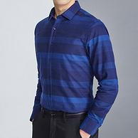 商場同款:紅豆 男士 加絨加厚條紋長袖襯衫