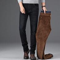 YE.LEE 男士加厚加绒款 弹力直筒牛仔裤