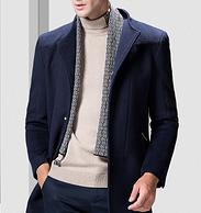 清倉特價,50%羊毛,26款:羅蒙 男士 中長款羊毛大衣外套 券后149元包郵