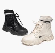 針織鞋口+增高4cm:Mark Fairwhale 馬克華菲 女士馬丁靴