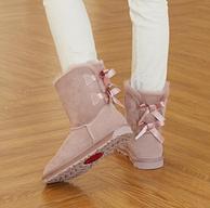 19日,羊皮毛一体+双蝴蝶结:Ozwear UGG 女士中筒防水雪地靴