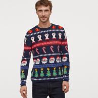6日0点,商场同款:H&M 提花宽松圆领针织衫圣诞毛衣