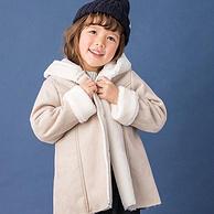 A類品,日本童裝人氣王:Petit main 女童 保暖加絨麂皮外套大衣