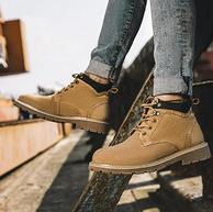 雙12同價!奧康 2019款 男士復古工裝風 頭層真皮馬丁靴