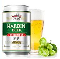 百年哈啤,麦芽度9°P:330mlx24听 哈尔滨 醇爽系列啤酒