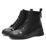 跟高5CM,Teenmix 天美意 COW40DD9 牛皮革女短靴