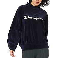 日版M码:Champion 冠军牌 女士丝绒半高领卫衣 CW-QS004