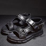 """第10次""""无品牌""""团、真皮不臭脚、4cm增高:原创真皮拼接大底凉鞋"""