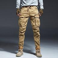 小Q直播同款、大口袋+多嵌条:95%棉 战术工装裤