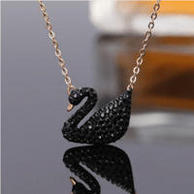 Swarovski 施華洛世奇 大黑天鵝項鏈 玫瑰金鏈 5204134