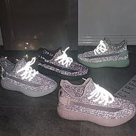 发光运动鞋,木林森 男女 新款满天星反光网面飞织运动休闲老爹鞋