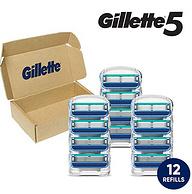 Gillette吉列 锋隐5 男士剃须刀补充装 12支