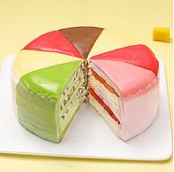 16日0点、一次享受8种味道:时刻陪你 八拼彩虹千层蛋糕 6寸 约600g