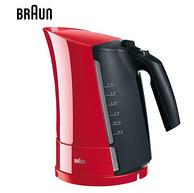 欧洲整机进口,2200w闪电沸腾:德国 博朗 1.7L 304不锈钢电热水壶 WK300红色