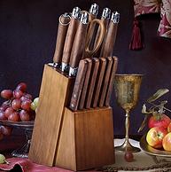德國進口,胡桃原木刀柄刀座,2Cr13不銹鋼:9件 克洛夫 刀具套裝