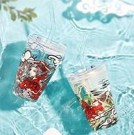 密封带吸管,手绘风:400ml 共禾京品 碧海仙云系列 高硼硅玻璃吸管杯 券后19.9元包邮
