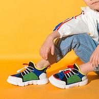 4.9分,商场同款:巴布豆 儿童 时尚撞色老爹鞋