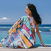 柔滑吸水不掉毛,一拧即干:361度 印花速干沙滩毛巾