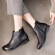 水洗头层牛皮,欧卡汇 复古真皮短靴 软底妈妈鞋棉鞋