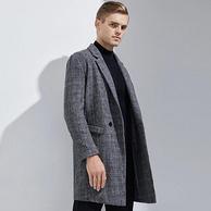 100%羊毛:网易严选 男式格纹毛呢大衣