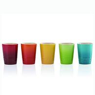 微波炉烤箱可用,彩虹色:5件装 Le Creuset酷彩 短款玻璃杯