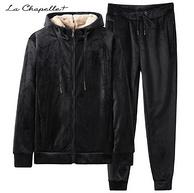 La Chapelle 拉夏贝尔 男款保暖羊羔绒卫衣套装