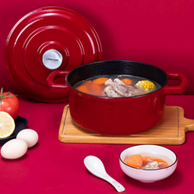 国内不锈钢厨具No.1,高密闭快熟:22cm 凌丰 网红珐琅铸铁锅