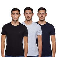 亚马逊销冠!100%纯棉:3件 Emporio Armani阿玛尼 男士 圆领T恤