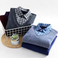 旗舰店发货,加绒加厚,办公可穿:VANCL凡客诚品 假两件针织衫