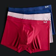 超薄爽滑,网孔透气抗菌:3条 猫人 男士 冰丝/纯棉/石墨烯款平角内裤