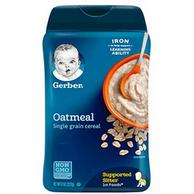 高铁锌燕麦味 ,227gx6件 Gerber 嘉宝 婴幼儿米粉 进口版  一段