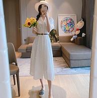 小编自留!送高档定制皮带:sandro 水溶棉质花朵镂空刺绣连衣裙