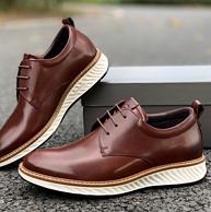 可跑步的正装皮鞋:Ecco爱步 新款圆头系带商务正装皮鞋